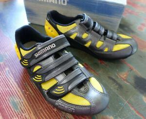 Shimano Road Cycling Shoes SH-R122 Bl/Yellow EU 38 US 5 SPD/SPD-SL New in Box