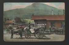 Postcard: Hunter-in-the-Catskills, NY - train station, horse drawn carriage.