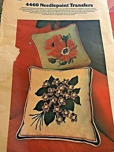 Needlepoint Transfers 2 Full Color Anemones Violets Pillow Front Butterick 4460