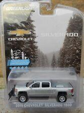 NEW 1:64 GreenLight SILVER 2015 Chevrolet SILVERADO Lifted w/Snowplow Tow Hitch