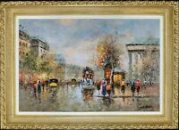 French City Paris Impressionism Cityscape, Gold Frame, Signed by Сristof Vevers