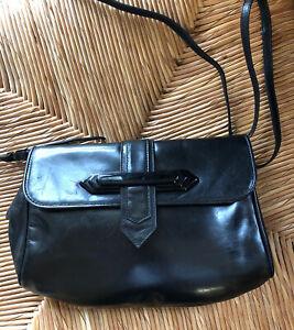 Saks Fifth Avenue Vintage Purse Black Leather Crossbody Adjustable Straps