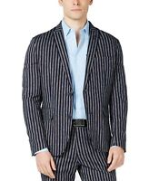 INC Mens Sport Coat Blue Size 3XL Slim Fit Stripe Print Two Button $129 #039