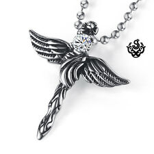 Silver pendant vintage style stainless steel cross wings cz ball chain necklace