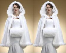 White Winter Wedding Faux Fur Cloak Cape with Hood Bridal Bolero Jacket Wraps