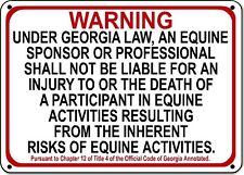 GEORGIA Equine Sign activity liability warning statute horse farm barn stable