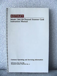Keithley 7164 20- Channel Scanner Card Instruction and Maintenance Manual