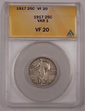 1917 Standing Liberty Quarter 25c Silver Coin Var 1 ANACS VF-20 B (1)