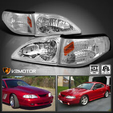 For 1994-1998 Ford Mustang Clear Headlights+Turn Signal Lights Corner Lamps