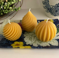 Elegant Beeswax Candle Set / Pear / Spiral / Melon / All Natural Handmade USA 🐝