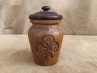 "5"" carved wood lidded trinket box handmade flowers antique vintage round"