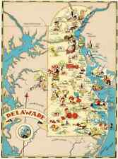 Canvas Reproduction Vintage Pictorial Map of Delaware Print Ruth Taylor 1935