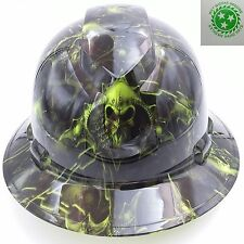 Hard Hat FULL BRIM custom hydro dipped ,  HELL RAISER SKULLS HI VIS GREEN