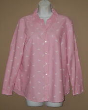 Womens Size Medium Long Sleeve Fall Fashion Pink Dragonfly Oxford Top Shirt