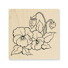 Spring Flower Pansies Flowers Wood Mounted Rubber Stamp Stampendous Q229 NEW