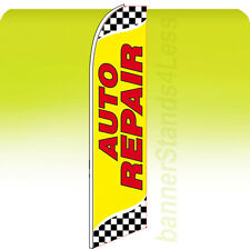 AUTO REPAIR Feather Swooper Flutter Flag 11.5' Banner Sign - Checkered yb