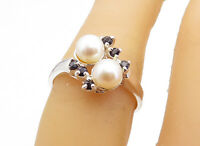 925 Sterling Silver - Freshwater Pearls & Sapphire Bypass Band Ring Sz 6- RG5433