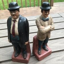 Vintage 1970's Laurel and Hardy Bookends Figurines Ceramic Ceramichrome CA