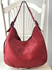 DOONEY & BOURKE Alto Italia Red Leather WhipStitch Studded Hobo Shoulder Bag Lrg