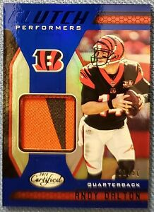 ANDY DALTON 2018 Certified Clutch Performers JSY Mirror Blue #'d 21/50 HOT PATCH