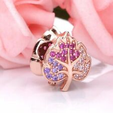 Rose Gold Autumn Leaf CZ Pave Charm Genuine s925 Sterling Silver
