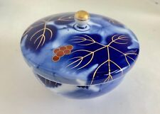 Fukagawa Seiji Arita Cobalt Blue Grapes Decoration Japanese Bone China Rice Bowl
