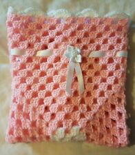 "LOVELY HAND CROCHET BABY DOLL BLANKET:PINK & WHITE RIBBON BOW 18"" x 18"""