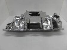 SBC CHEVY ELIMINATOR POLISHED DUEL PLAIN AIR GAP ALUMINUM INTAKE MANIFOLD # 2025