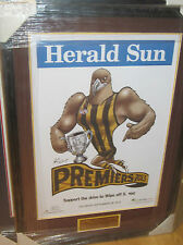 2013HAWTHORN  PREMIERS HERALD SUN POSTER FRAMED + ENGRAVED PLAQUE - BRAND NEW!!!