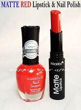 MATTE RED Lipstick + MATTE RED Nail Polish Lacquer Set *FULL SIZE*