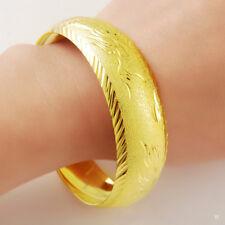 Generous 24K Gold Plated Dragon Phoenix Women Men Bangle Bracelet GB002