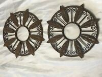 Pair Small Architectural Antique Basque Spanish Wrought Iron Roundels Plaques