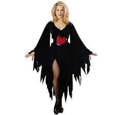Ladies Dark Sorceress Costume Womens Halloween Witch Fancy Dress Outfit Scary