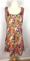 Evan Picone Bright Floral Sleeveless Dress, Pleated Skirt, Size 12