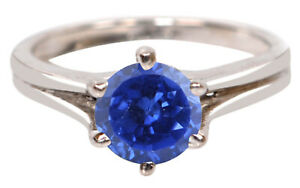 Finest 14KT White Gold / 1.25Ct Round Shape AA Natural Royal Blue Tanzanite Ring