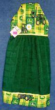 **NEW** Handmade Plaid John Deere on Green Hanging Kitchen Hand Towel #1229