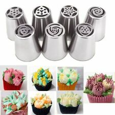 7PC Russian Piping Tips Cake Decorating Tip Stainless Steel Floral Icing Nozzles