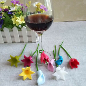 6pcs Flowers Wine Cup Marker Silicone Wine Glass Label Glass Cup RecognizeryuBI