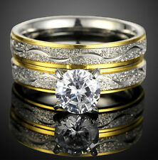18K GOLD ON PLATINUM/STEEL ALLOY 1.5 CT SIMULATED MOISSANITE MATCHED RINGS SZ 8