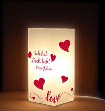 Valentinstag Tischleuchte Nachttischlampe Frostglas mit Wunschname, Herzen Liebe
