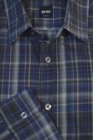Hugo Boss Men's Gray & Blue Check Cotton Casual Shirt L Large