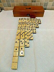 VICTORIAN 19thC SET OF BONE & EBONY DOMINOES IN WOODEN BOX WITH LOCK + ORIG. KEY