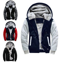 Men's Fur Lined Hooded Fleece Sherpa Jacket Plain Warm Thick Hoodie Coat Top