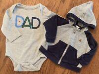 Baby Gap Boys I Love My Dad Bodysuit & Thermal Waffle Hooded Jacket Sz 3-6m