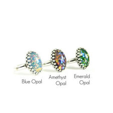 Blue Amethyst Emerald Opal 925 Silver Ring Women Wedding Party Gift Size 6-10