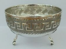 Antique Scandinavian Solid Silver Vase Dish Bowl Flower Pot Key Pattern 830 84g