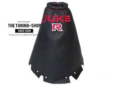 """For Nissan JUKE 2010-15 Gear Stick Gaiter Leather """"JUKE R"""" Red Embroidery"""