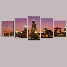 Wanduhr 5 tlg. Leinwand New York City 2x(40x30)cm 2x(50x30)cm 1x(60x30)cm