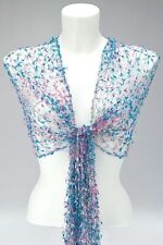 BLUE PINK SILVER NET SCARF SHAWL / WRAP cobweb mesh wedding fair trade Viscose