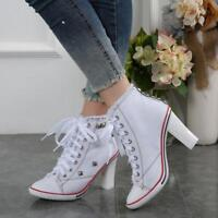 Womens High Heels Ankle short Boots Lace Up Sneakers Denim Canvas Shoes Lady New